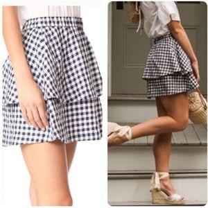 NWOT Madewell Gingham Tier Mini Skirt M